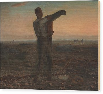 The End Of The Day Effect Of Evening  Wood Print by Jean-Francois Millet