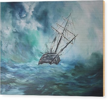 The Endurance At Sea Wood Print by Jean Walker