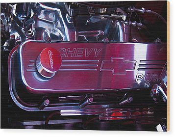 The Engine In A 1956 Chevy Bel Air Custom Hot Rod Wood Print by David Patterson