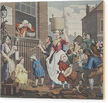 The Enraged Musician, Illustration Wood Print by William Hogarth