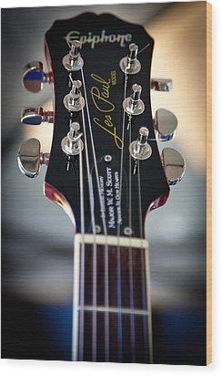 The Epiphone Les Paul Guitar Wood Print by David Patterson