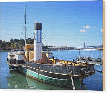 The Eppleton Hall Paddlewheel Tugboat - 1914 Wood Print by Daniel Hagerman
