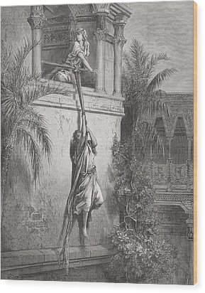 The Escape Of David Through The Window Wood Print by Gustave Dore