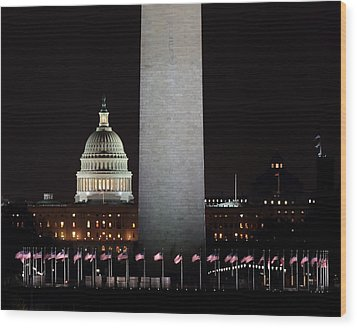 The Essence Of Washington At Night Wood Print