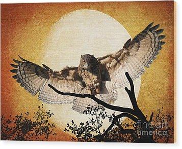 The Eurasian Eagle Owl And The Moon Wood Print