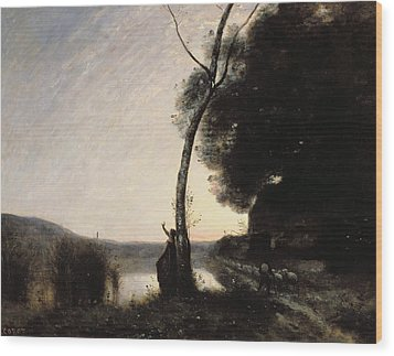 The Evening Star Wood Print by Jean Baptiste Camille Corot