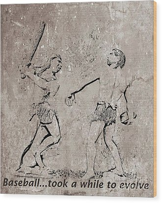 The Evolution Of Baseball Wood Print by John Malone