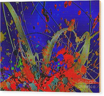The Explosion Of Color Wood Print by Doris Wood