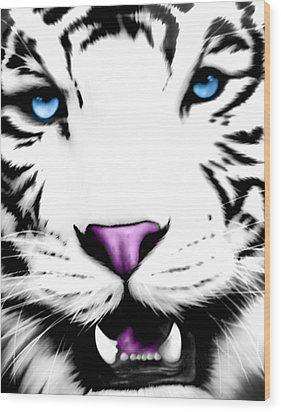 The Eye Of The White Tiger Wood Print by Gina Dsgn
