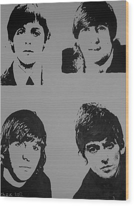 Wood Print featuring the painting The Fab Four by Cherise Foster