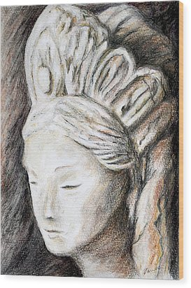 The Face Of Quan Yin Wood Print by Danuta Bennett