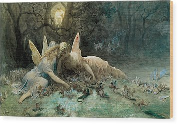 The Fairies From William Shakespeare Scene Wood Print by Gustave Dore