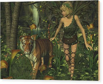 Wood Print featuring the digital art The Fairy And The Tiger by Jayne Wilson