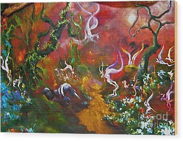 The Fairy Forest Wood Print by Michelle Dommer
