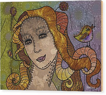 Wood Print featuring the digital art The Fairy Godmother by Barbara Orenya