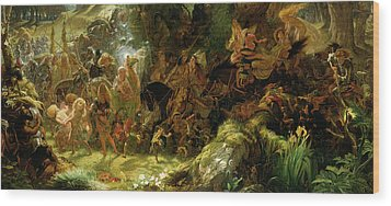 The Fairy Raid Wood Print by Sir Joseph Noel Paton
