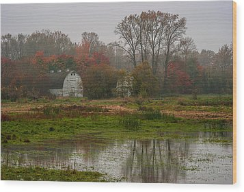 The Fall Barn Wood Print