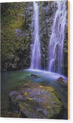 The Falls At Makamakaole Wood Print by Hawaii  Fine Art Photography