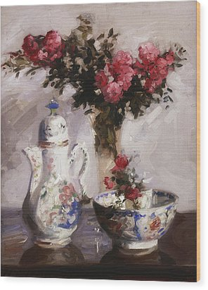 The Famille Rose Coffee Pot Wood Print by Francis Campbell Boileau Cadell