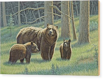 The Family - Black Bears Wood Print by Paul Krapf
