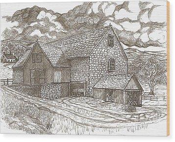 The Family Farm - Sepia Ink Wood Print by Carol Wisniewski