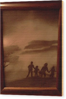 The Family  Walk Wood Print by Renee McKnight