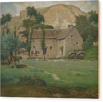 The Farm House Wood Print by Jean Francois Millet