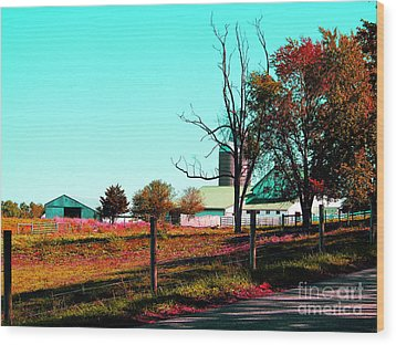 The Farmland In Autumn Wood Print by Tina M Wenger