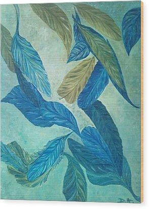 The Feather-leaf Morph Wood Print by Derya  Aktas