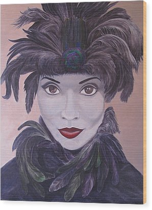 The Feathered Lady Wood Print by Leonard Filgate