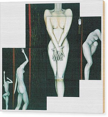 Wood Print featuring the painting The Female Trunks by Fei A