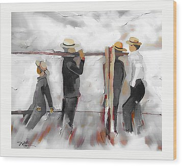Wood Print featuring the painting The Fence Builders by Bob Salo