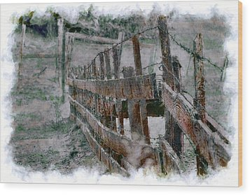 Wood Print featuring the photograph The Fence Down There by William Havle