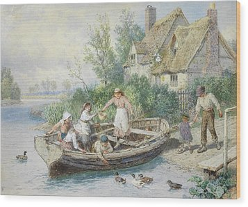 The Ferry Wood Print by Myles Birket Foster