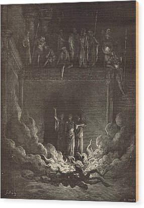 The Fiery Furnace Wood Print by Antique Engravings