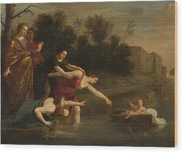 Wood Print featuring the painting The Finding Of Moses   by Jacques Stella
