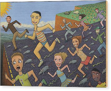 The Finish Line Wood Print by James W Johnson
