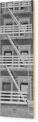 The Fire Escape In Black And White Wood Print by Rob Hans