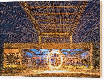 The Fireball Wood Print by Arthit Somsakul