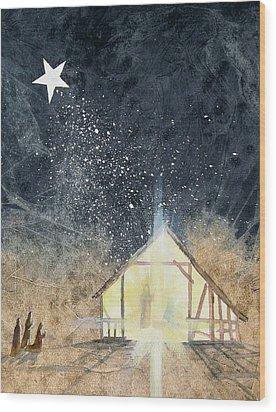The First Christmas Wood Print by Jackie Mueller-Jones