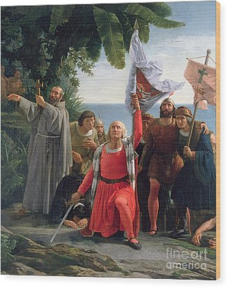 The First Landing Of Christopher Columbus In America Wood Print by  Dioscoro Teofilo Puebla Tolin