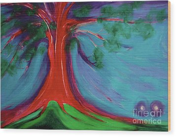 Wood Print featuring the painting The First Tree By Jrr by First Star Art