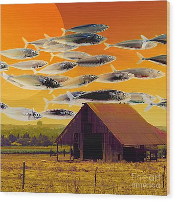 The Fish Farm 5d24404 Square Wood Print by Wingsdomain Art and Photography