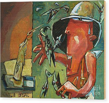 The Fish Juggler In The White Hat In Candlelight Wood Print by Charlie Spear