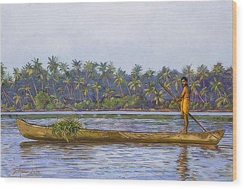 The Fisherman And His Boat Wood Print by Dominique Amendola