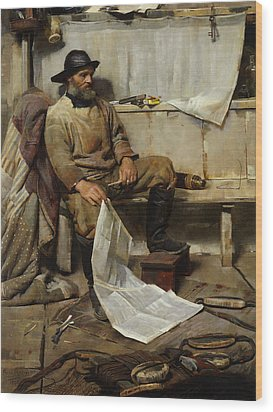 The Fisherman Wood Print by Frank Richards