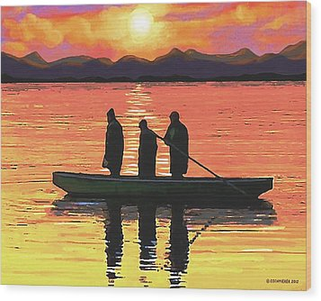 Wood Print featuring the painting The Fishermen by Sophia Schmierer