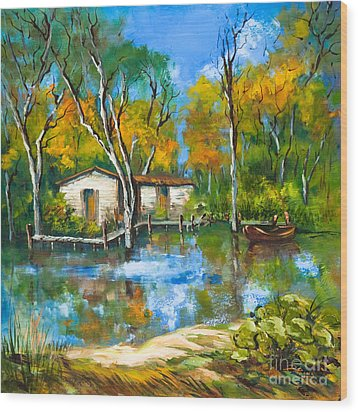 The Fishing Camp Wood Print by Dianne Parks