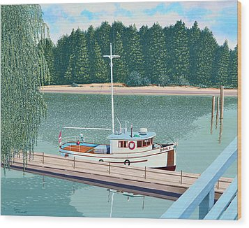 Wood Print featuring the painting The Converted Fishing Trawler Gulvik by Gary Giacomelli
