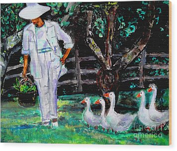 Wood Print featuring the painting The Five Ducks by Helena Bebirian